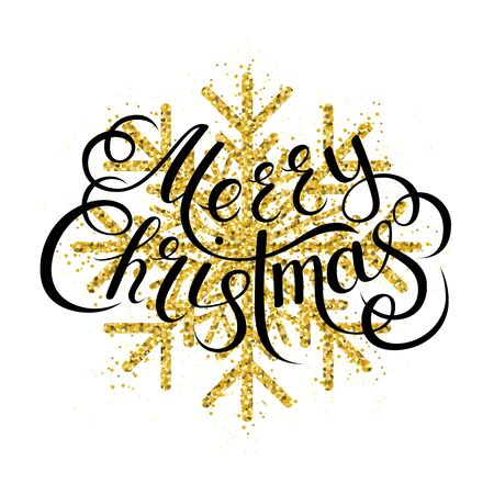 Merry Christmas Golden glitter gorgeous snowflake. Luxurious christmas design element with golden glitter snowflake, golden dust and sparkles. Illustration