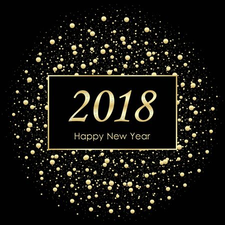 Vector 2018 New Year Black background with gold glitter confetti splatter texture. Festive premium design template for holiday greeting card, invitation