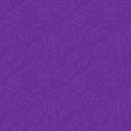 Vector seamless simple pattern with ornamental eggs. Easter holiday purple background for printing on fabric, paper for scrapbooking.