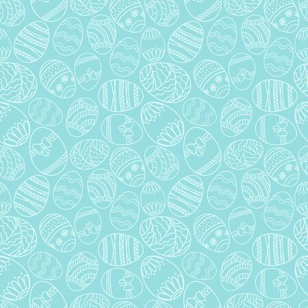 Vector seamless simple pattern with ornamental eggs. Easter holiday green background for printing on fabric, paper for scrapbooking.