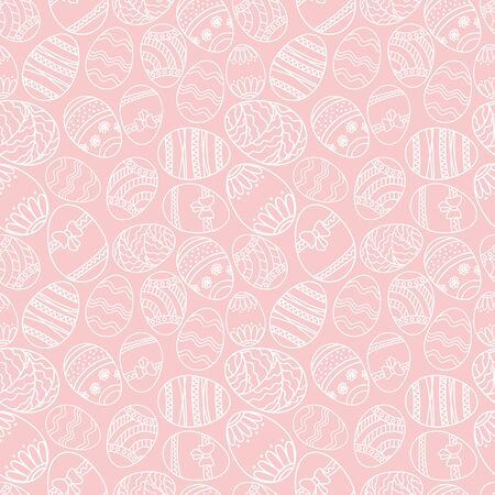 Vector seamless simple pattern with ornamental eggs. Easter holiday pink background for printing on fabric, paper for scrapbooking.
