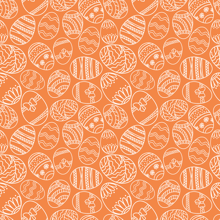 Vector seamless simple pattern with ornamental eggs. Easter holiday orange background for printing on fabric, paper for scrapbooking. Ilustração