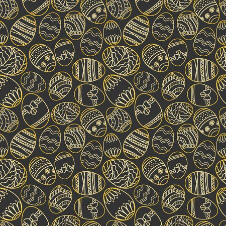 Vector seamless simple pattern with ornamental eggs. Easter holiday black background for printing on fabric, paper for scrapbooking.