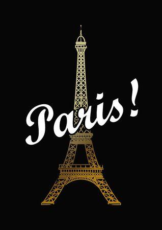 Eiffel tower isolated vector illustration.