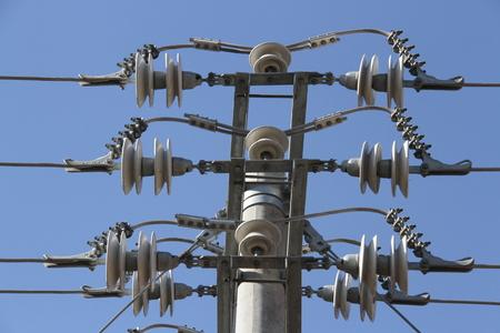 power pole: close up of power pole Stock Photo