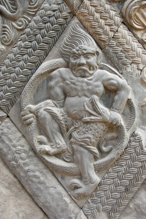 revised: Temple carving statues  Stock Photo