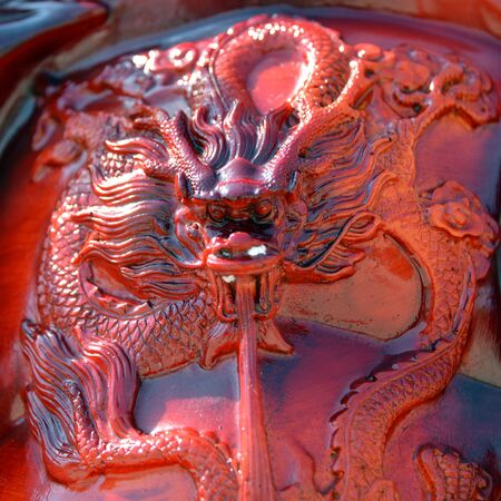 wood carving: Dragon wood carving in red