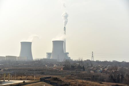 thermal pollution: Thermal power plant Stock Photo
