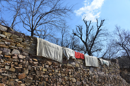 Taihang mountain sun drying quilt Фото со стока - 81352005