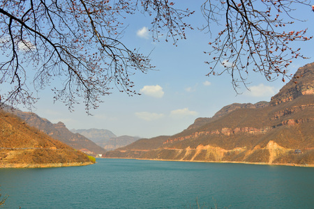 Spring scenery of Taihang Mountains and rivers Stock Photo