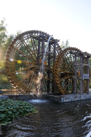 agricultural implements: waterwheel Stock Photo