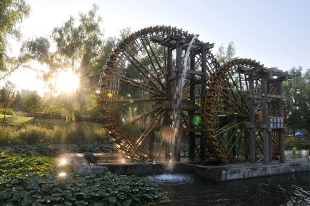 agricultural implements: The ornamental waterwheel Park