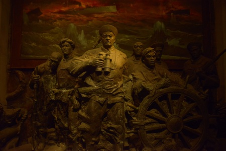 Detailed sculpture at a museum in Shandong, China