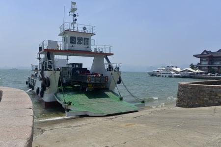 Boat unloading a truck