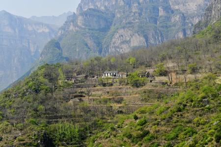Houses on terrace hills Banco de Imagens