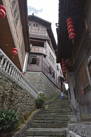 Walkway with stairs in an ancient town
