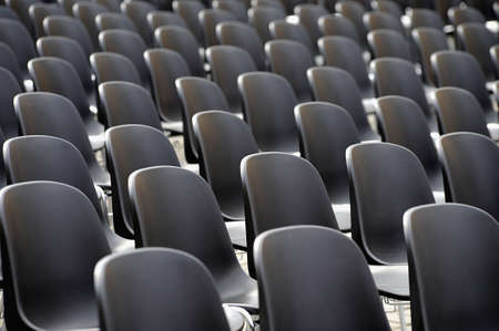Rows of empty chairs Stock Photo