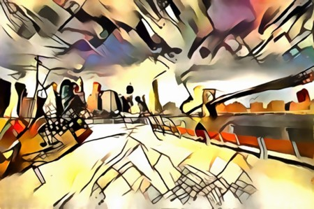 The interpretation of the abstract city skyline illustration of the new Yorks avant-garde Фото со стока