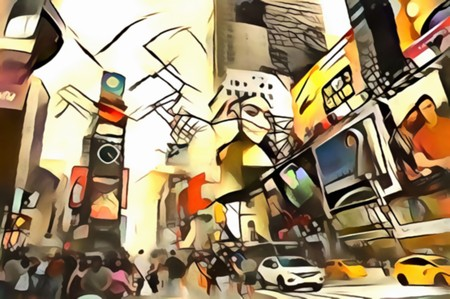 The interpretation of the abstract city skyline illustration of the new Yorks avant-garde Stock Photo