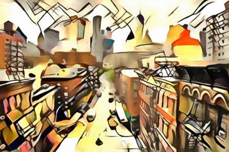 The interpretation of the abstract city skyline illustration of the new Yorks avant-garde Stok Fotoğraf