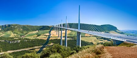 The spectacular Millau Viaduct bridge in South France. Editorial Image.