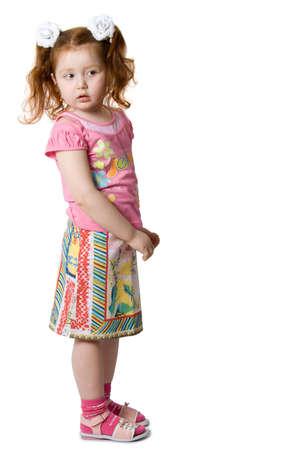 Little curiosity girl, isolated on white background