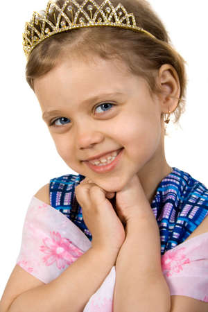 Little smiling princess, isolate on white Stok Fotoğraf