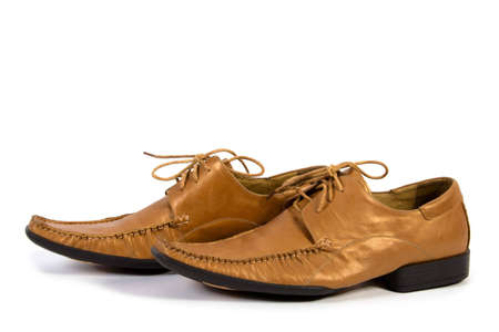 loafers: Golden loafers isolate on white Stock Photo