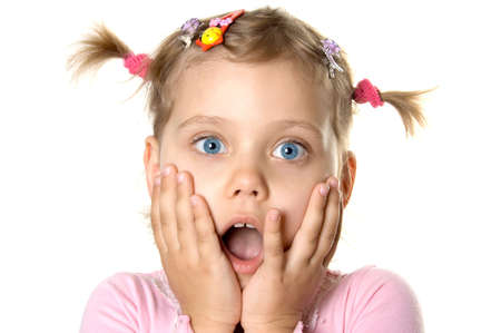 Surprised little girl. Isolate on white. Stock Photo - 968393