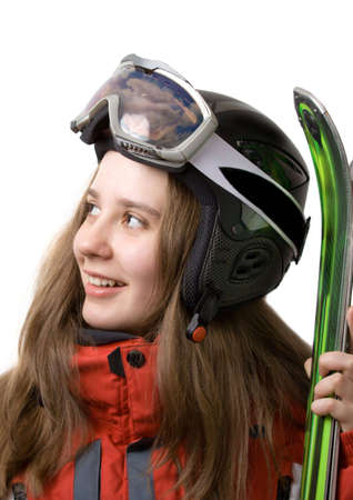 Smiling skier girl isolated over white Stock Photo