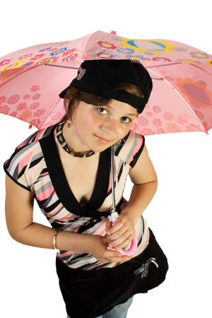 beatitude: Young girl with umbrella. Isoalte on white. Stock Photo