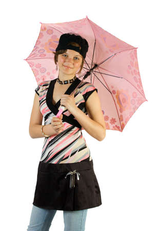 Young girl with umbrella. Isoalte on white. Stock Photo - 1585121