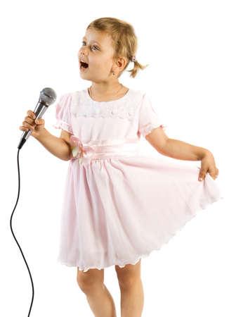 Little girl singing. Isolate on white background.