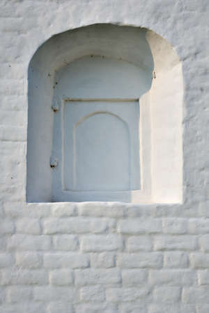 White wall with cloused window. Stock Photo - 1585191
