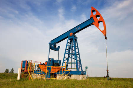 An oil pump jack Stock Photo