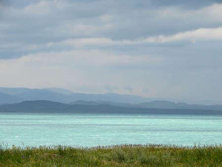Lake and mountain.  photo