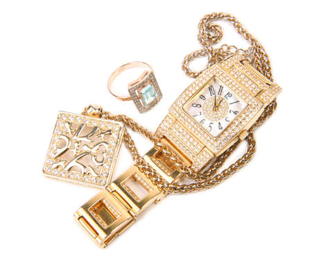 Jewelry set. Gold watch