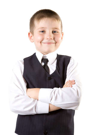Well-dressed young businessman Boy weared at suit Isolated on white Stock Photo - 2474768
