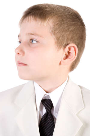 Well-dressed young businessman Boy weared at suit Isolated on white Stock Photo - 2474775