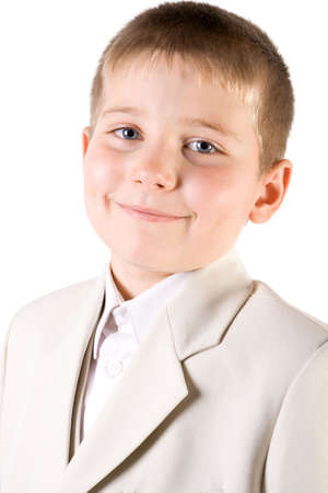 Portrait of well-dressed smiling boy Isolated on white Stock Photo - 2474752