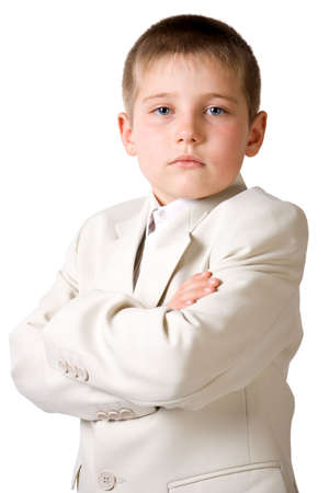 earnest: Well-dressed serious boy like businessman. Isolate on white Stock Photo