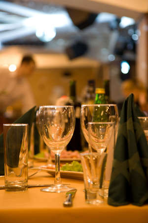 Fine dining set table in restaurant photo