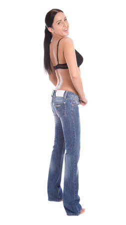 Attractive girl stand back to camera isolate on white Stock Photo - 3092972