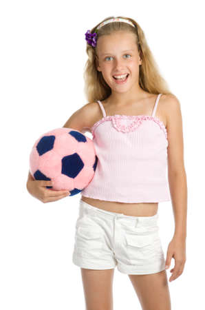 Young pretty girl with fur toy soccer ball