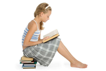 only 1 girl: Pretty teenager girl sit on floor and reading book