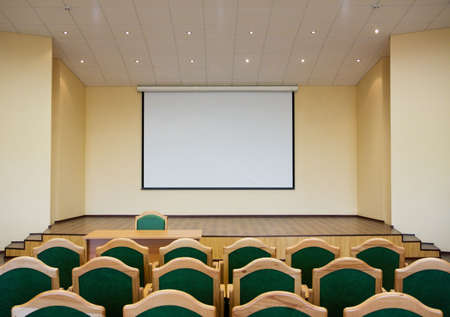 projection: Modern auditorium hall for presentation with projection screen