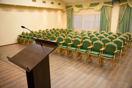 lecture theatre: Modern auditorium hall for presentation with tribune