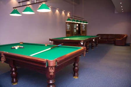 pool halls: Large billiard room with two tables and bar Stock Photo