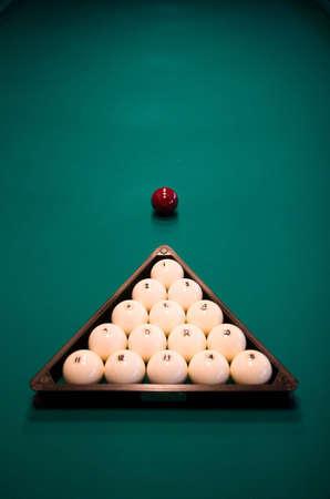 poolball: Billiard set on green table close-up image