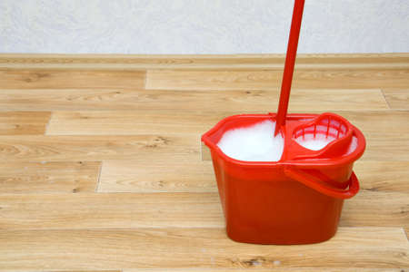A red mop in a plastic bucket on floor photo
